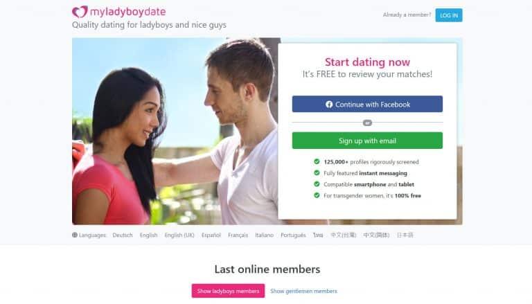 MyLadyboyDate screen